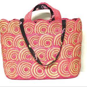 Lulu Guinness straw beach bag